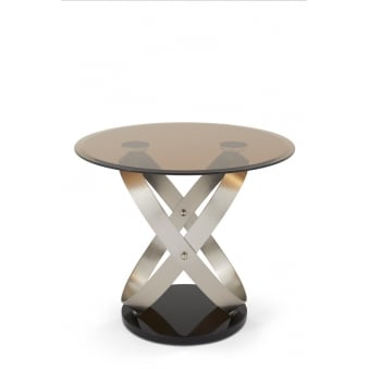 Miranda Lamp Table With Tempered Smoked Glass Top