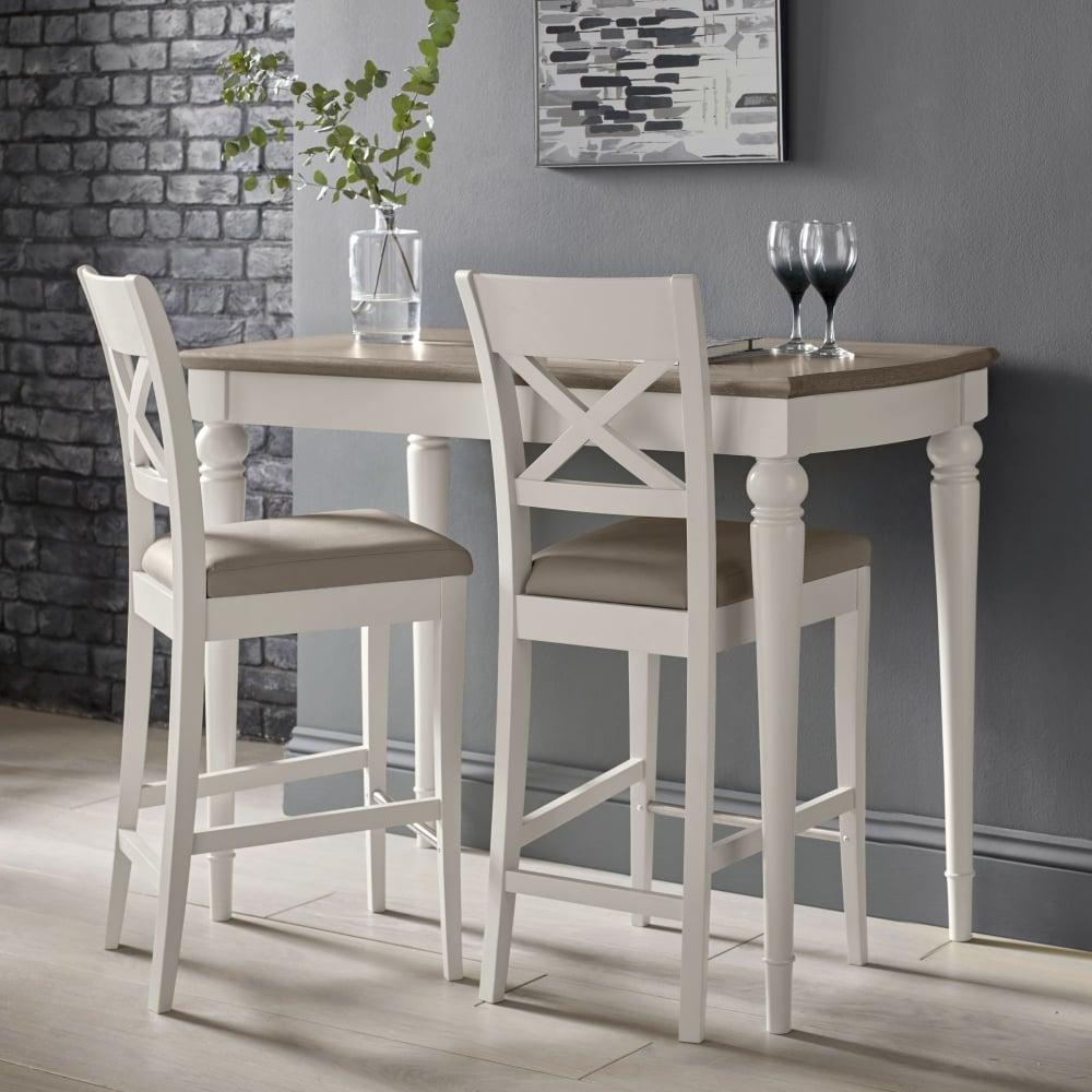 Stupendous Montreux Bar Table Grey Washed Oak Soft Oak With 2 X Back Bar Stools Pabps2019 Chair Design Images Pabps2019Com