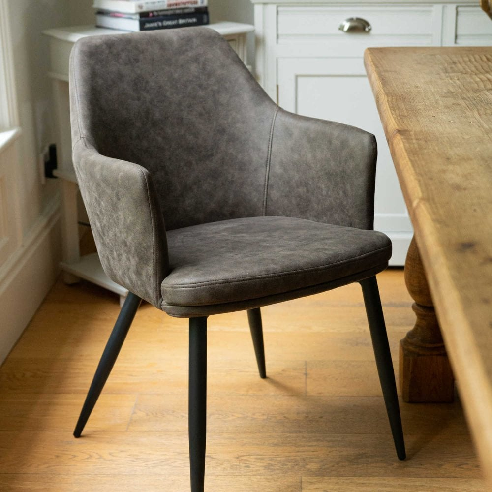 Oslo Carver Grey Dining Chair Faux Leather Dining Room From Breeze Furniture Uk