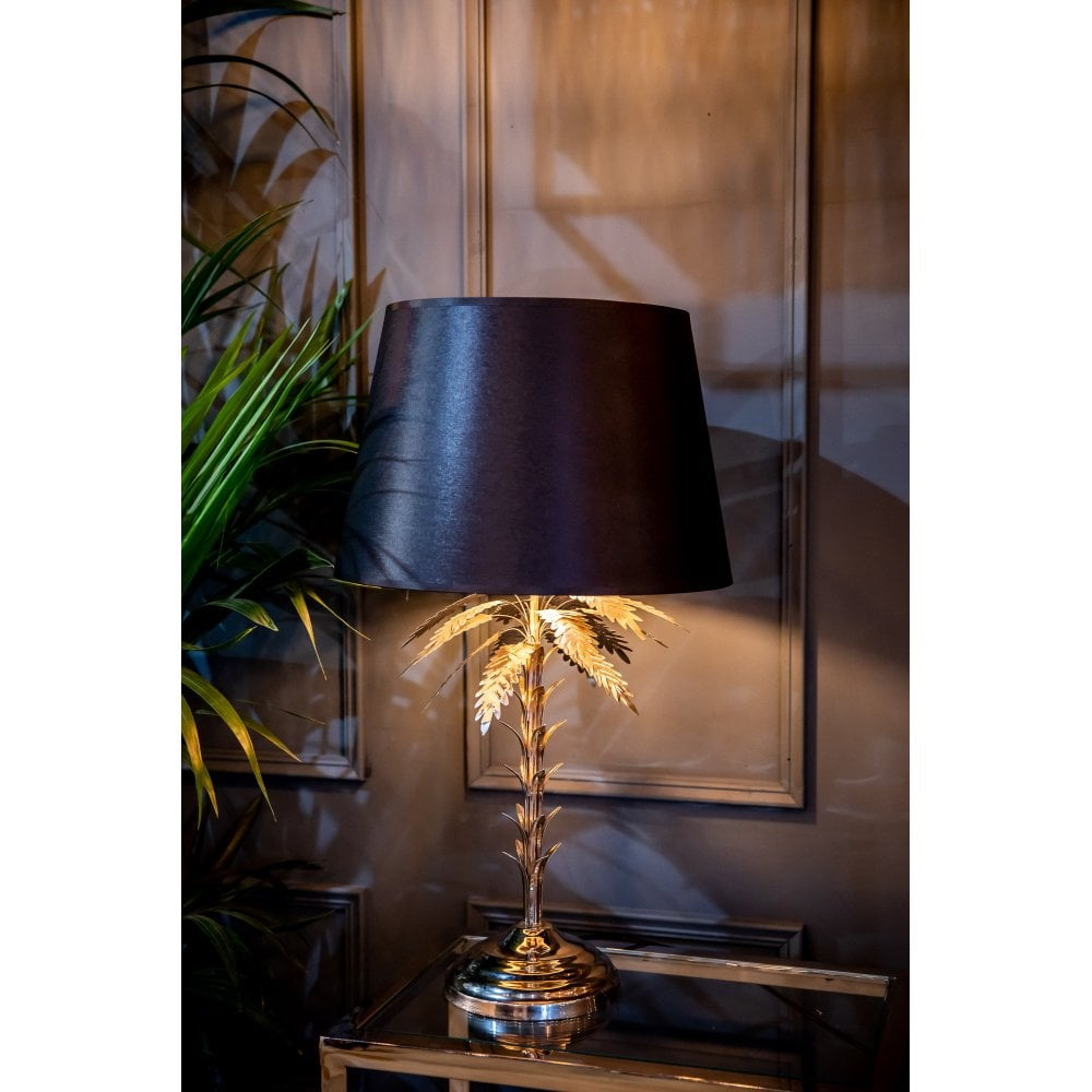 Palm Tree Table Lamp with Black Shade Gold Finish