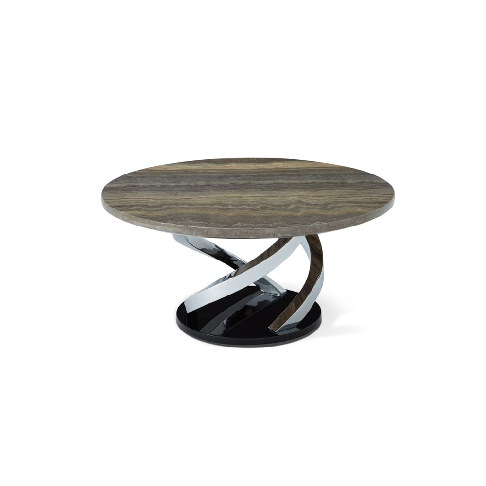 Pandora Chrome Plated Coffee Table With Replica Marble Top