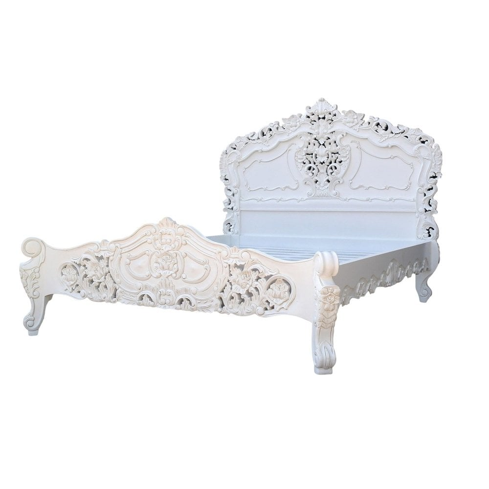 Groovy Rococo 6Ft Super King Size Mahogany Carved White Painted Bed Best Image Libraries Sapebelowcountryjoecom