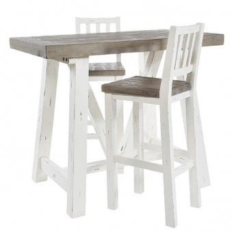 Purbeck White Painted Distressed Reclaimed Wood Bar Table And 2 Stools