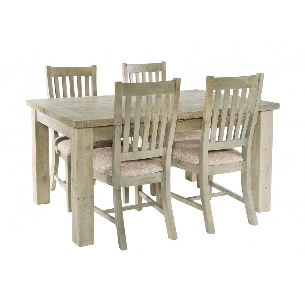 Rustic Reclaimed Wood Extending Dining Set With 4 Slatted