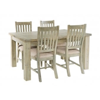 Rustic Reclaimed Wood Extending Dining Set with 4 Slatted Back Chairs