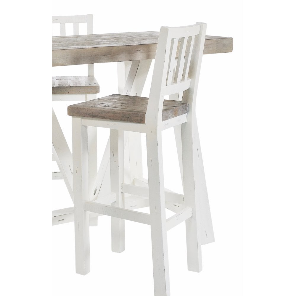 White Painted Distressed Reclaimed Wood Bar Stool Dining Room From