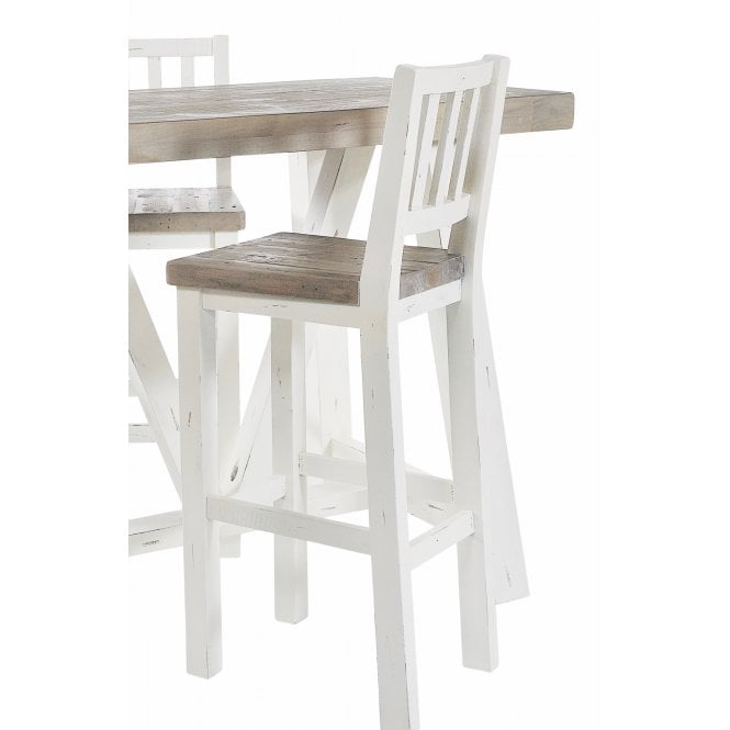 White Painted Distressed Reclaimed Wood Bar Stool