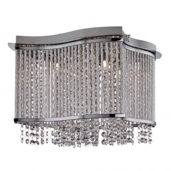 Elise Chrome Light Fitting With Crystal Button Drops