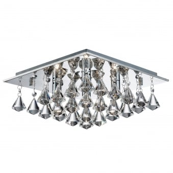 Hanna chrome light ceiling fitting with clear crystal drops