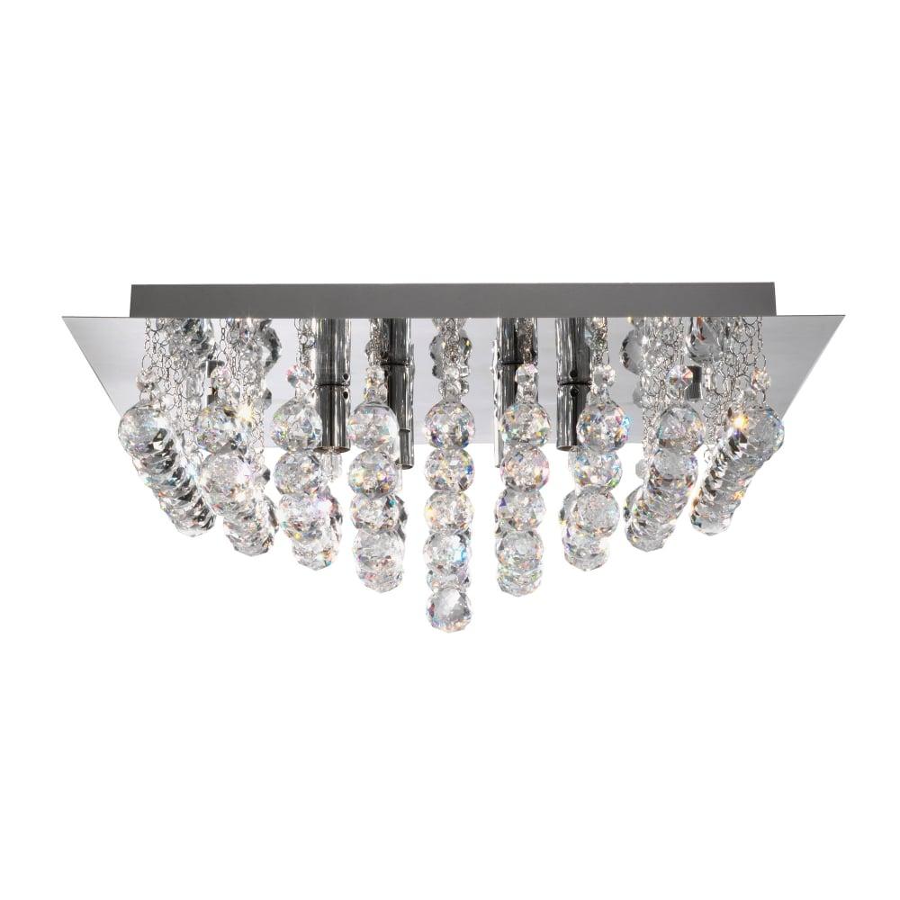 Hanna Chrome Light Square Semi Flush With Clear Crystal
