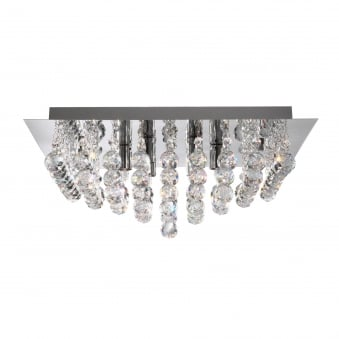 Hanna chrome light square semi-flush with clear crystal balls