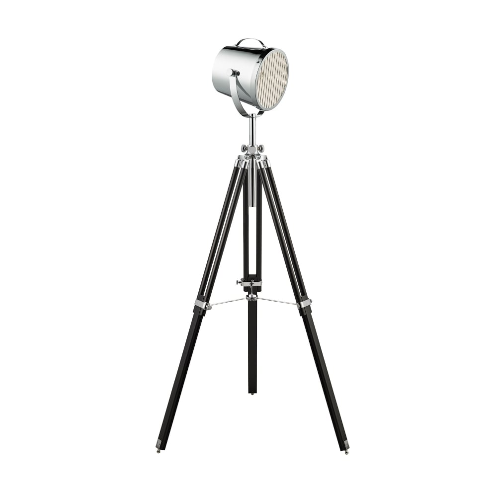 Searchlight STAGE LIGHT BLACK FLOOR LAMP WITH STYLISH CHROME SHADE ...