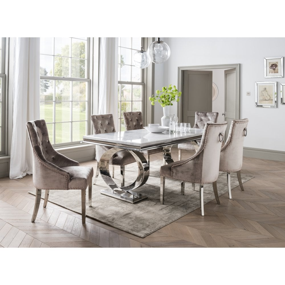 Selene Dining Table Set With Bone White 2000 And 6 Champagne Chairs