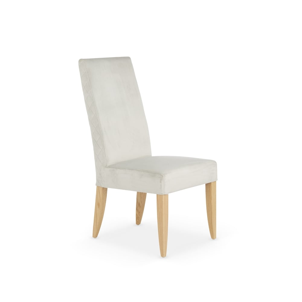 Hendon Quilted Fabric Dining Chairs With Oak Legs