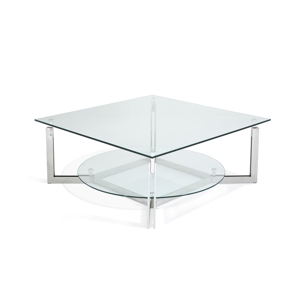 Serene Living Luna Glass Top Stainless Steel Square Coffee Table