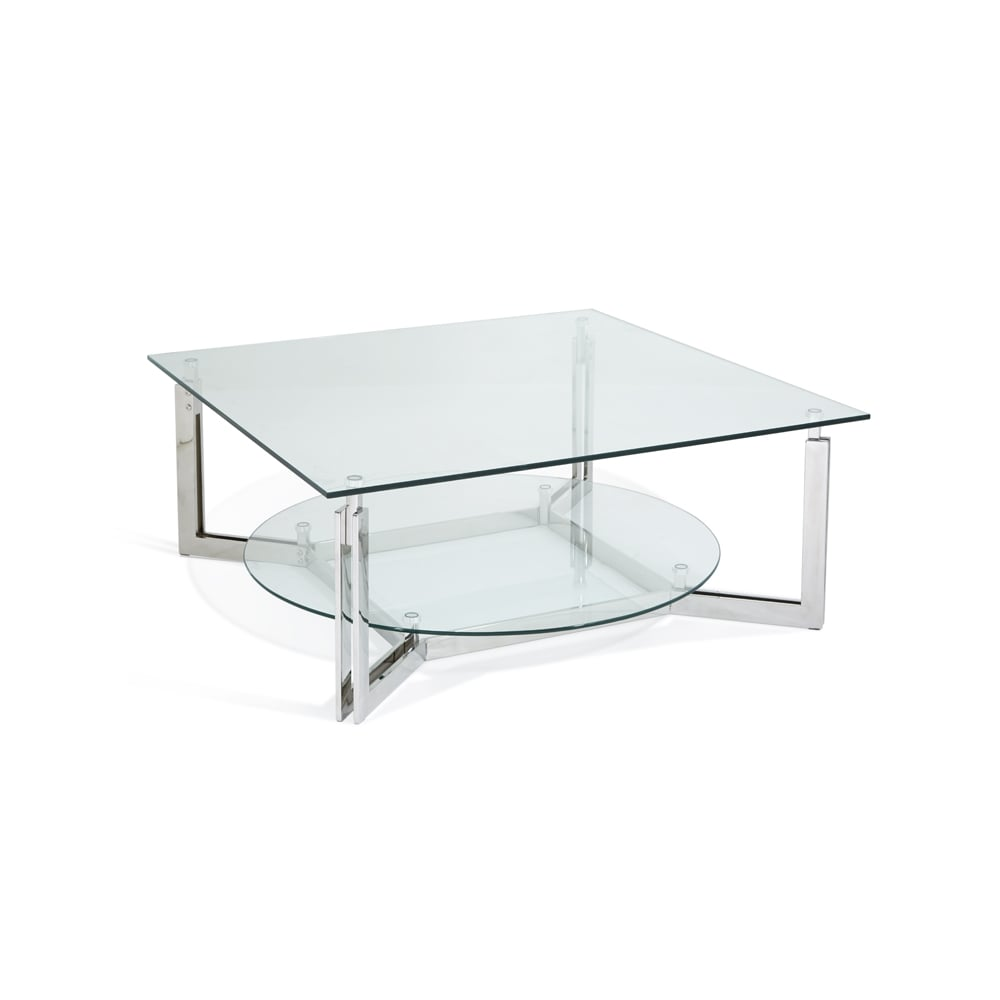 Luna Glass Top Stainless Steel Square Coffee Table