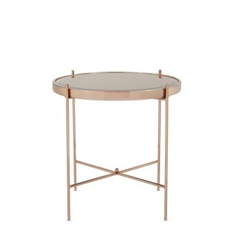Taurus Mirror Top Rose Gold Plated Lamp Table