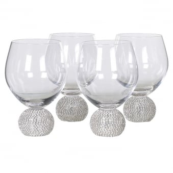Set of 4 Diamante Ball Wine Glasses