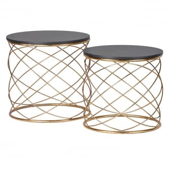 Set Of Two Gold Cylindrical End Tables