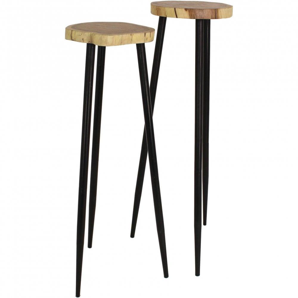 Tall Pillar Acacia Wood Side Tables, Tall Side Tables Living Room