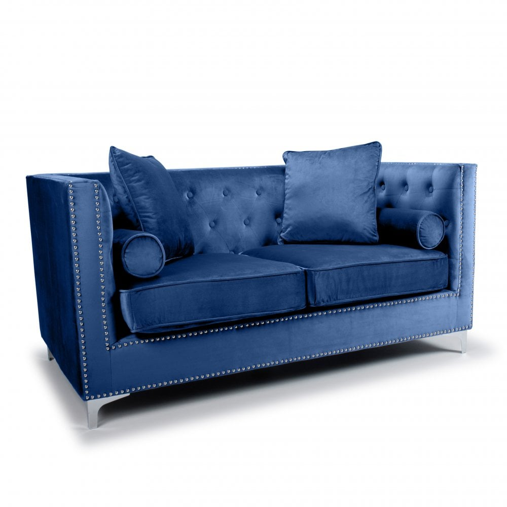 Dorchester 2 Seater Brushed Velvet Ocean Blue Sofa Living Room From Breeze Furniture Uk