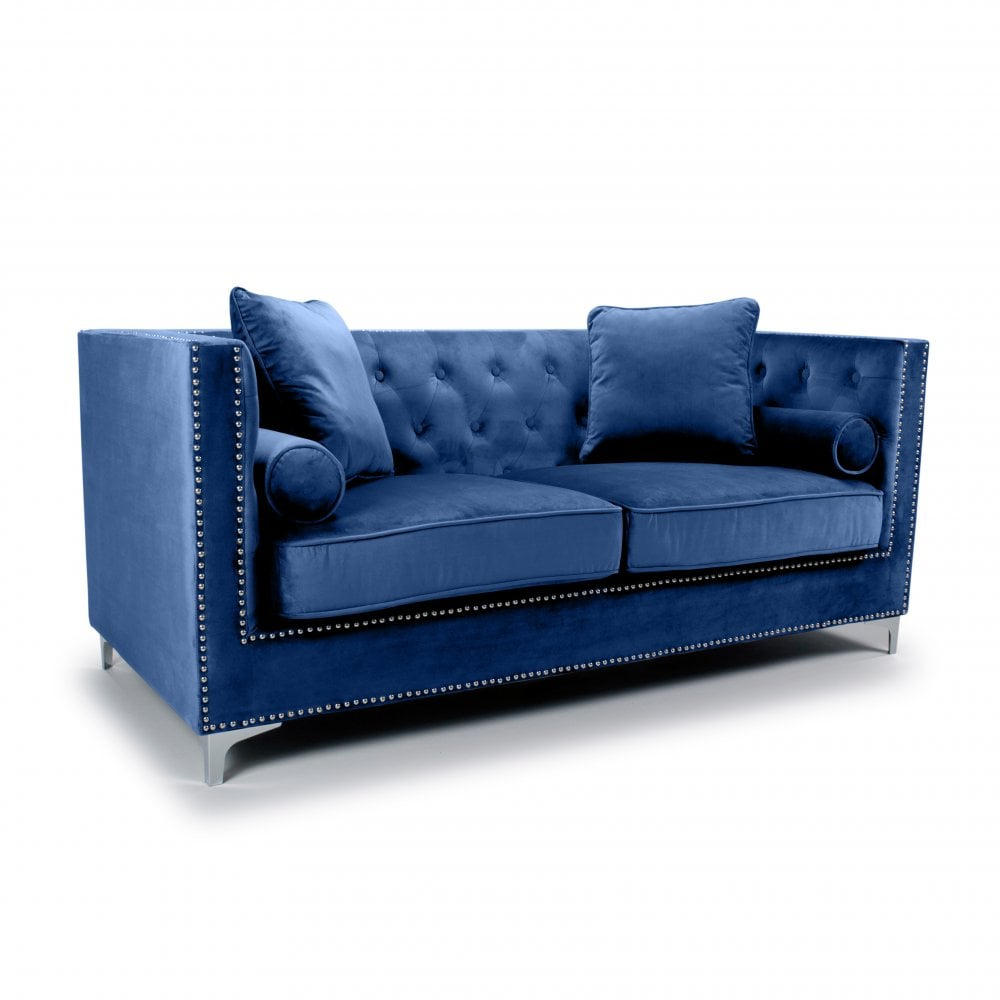 Dorchester 3 Seater Brushed Velvet Ocean Blue Sofa Living Room From Breeze Furniture Uk
