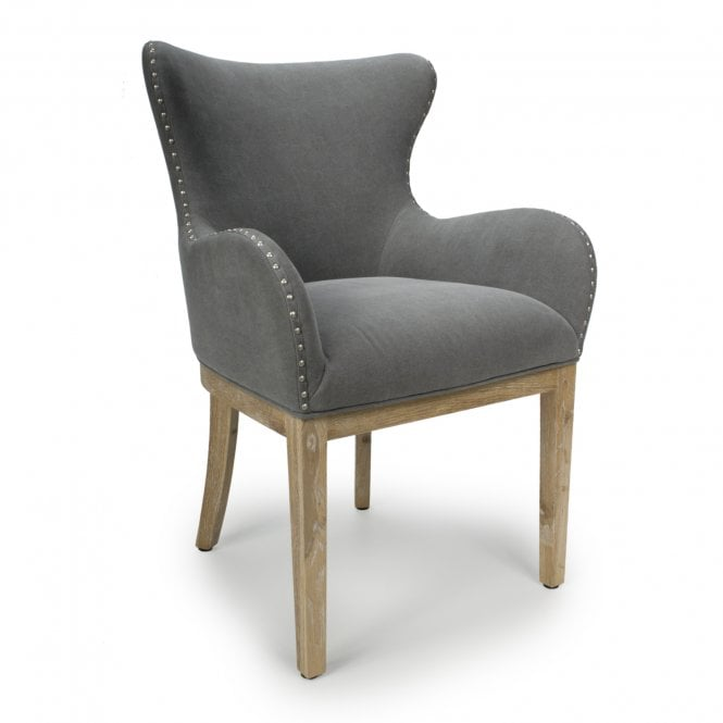 Grey Accent Chair Under 200: Stanton Low Curved Wing Back Dusky Cotton Grey Accent