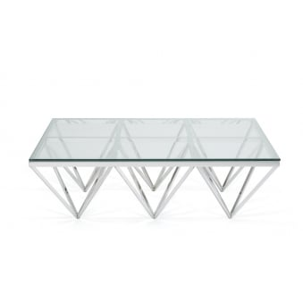 Star Rectangular Coffee Table In Polished Stainless Steel And Glass
