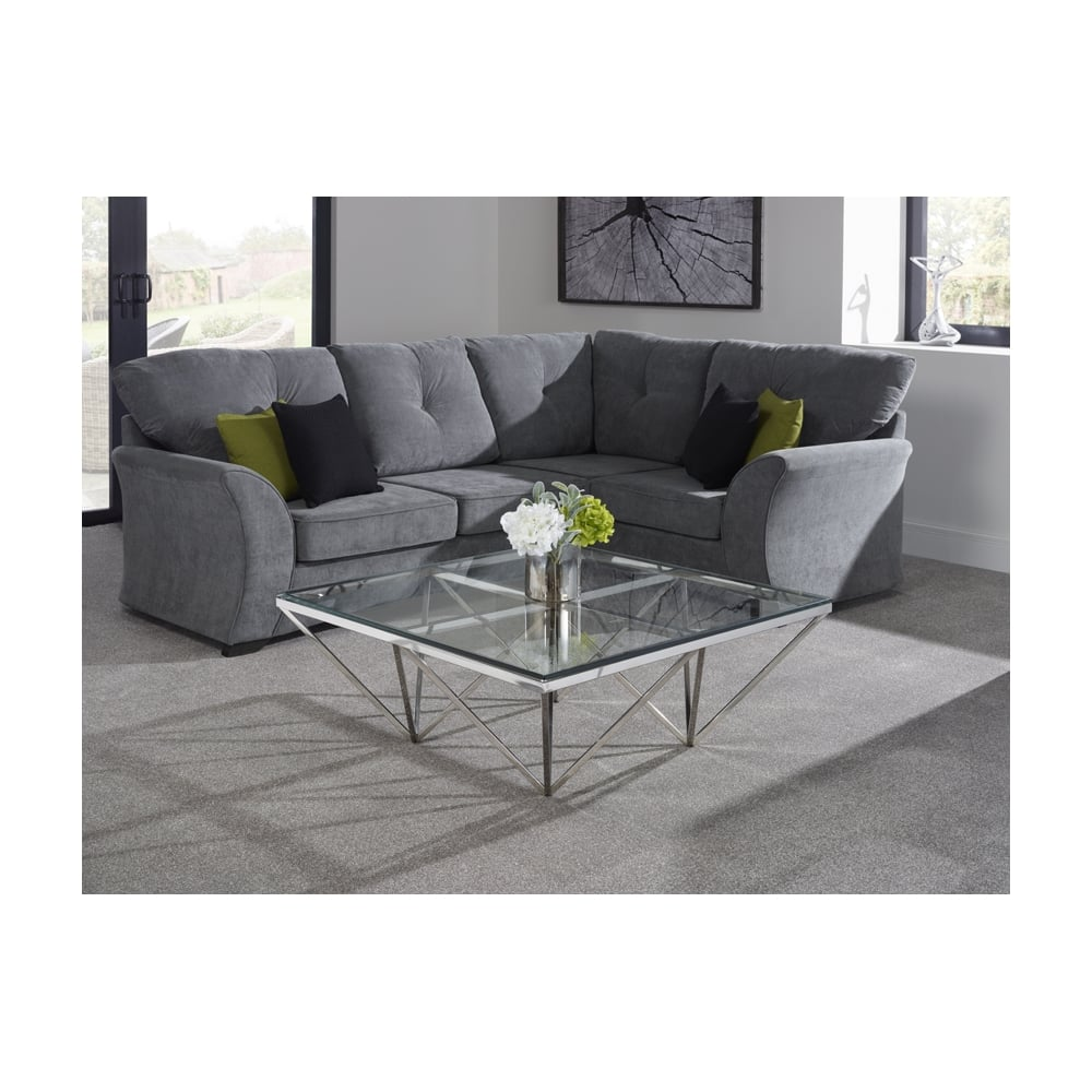 Star Square Coffee Table In Polished Stainless Steel And Glass