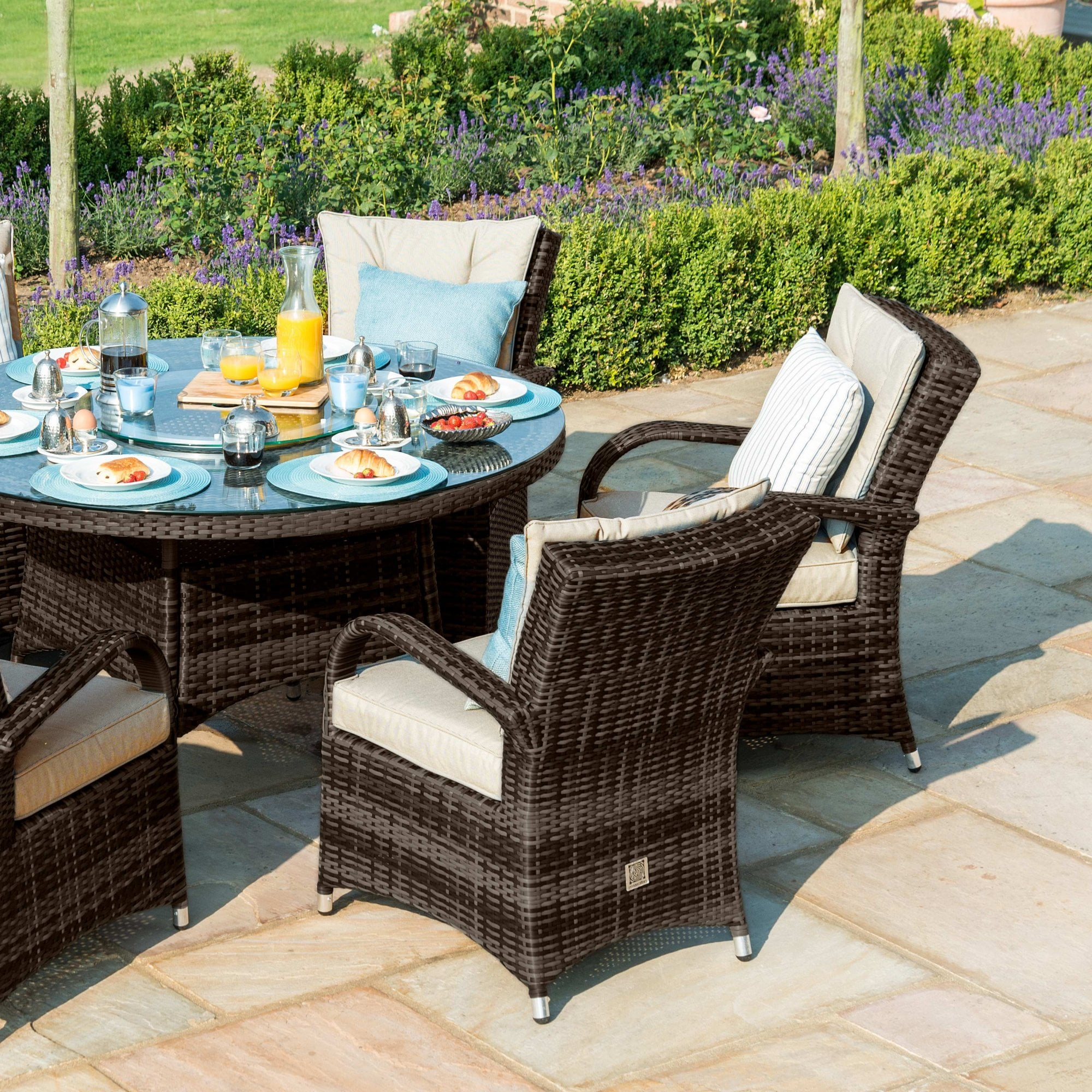 Texas 8 Seat Round Dining Set With Ice Bucket Lazy Susan Outdoor Living From Breeze Furniture Uk