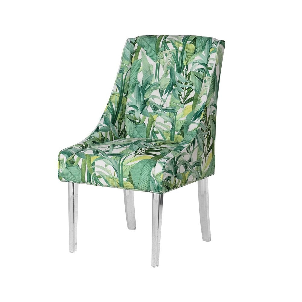 Tropical Print Dining Chair With, Tropical Dining Room Chairs