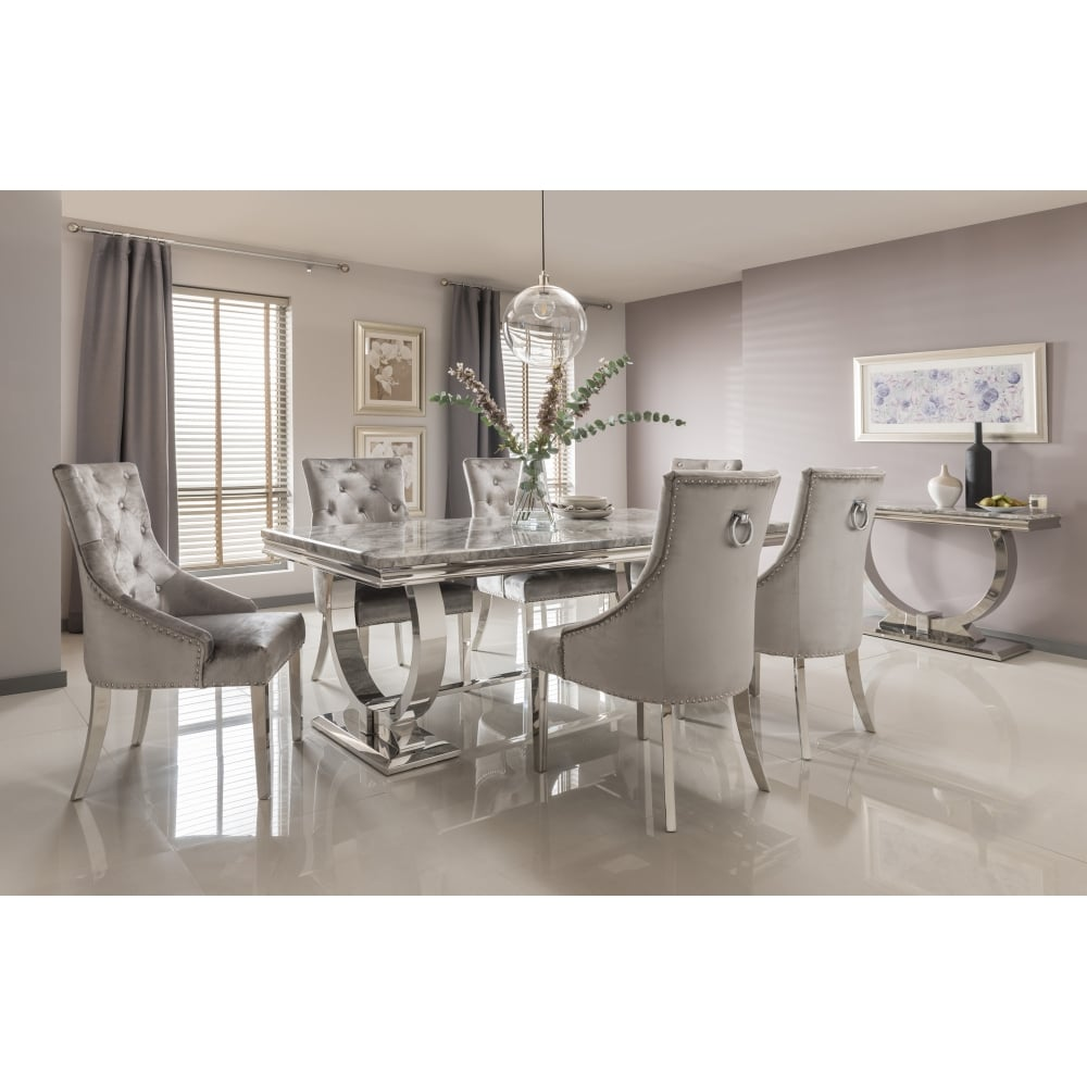 Marble Dining Room Table: Arianna Marble Dining Table Set In Grey,
