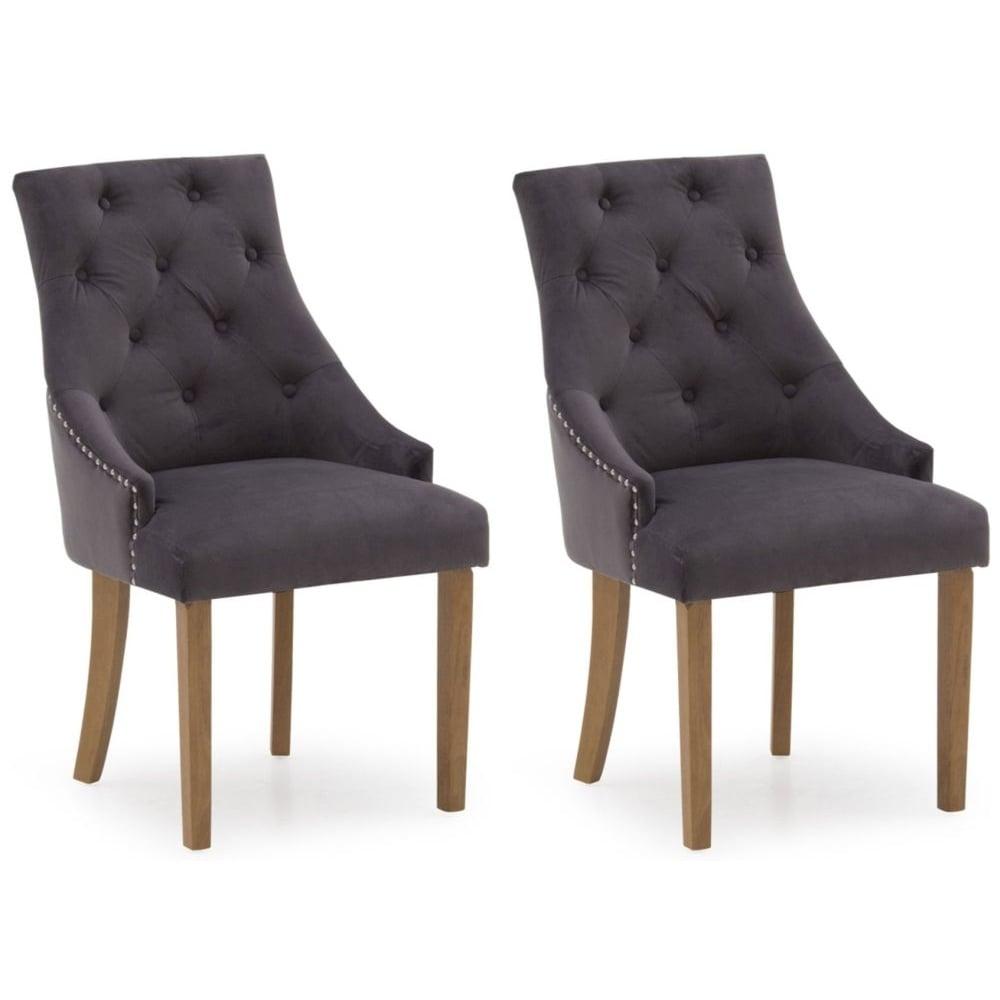 Hobbs Velvet Dining Chair Grey Misty Pair