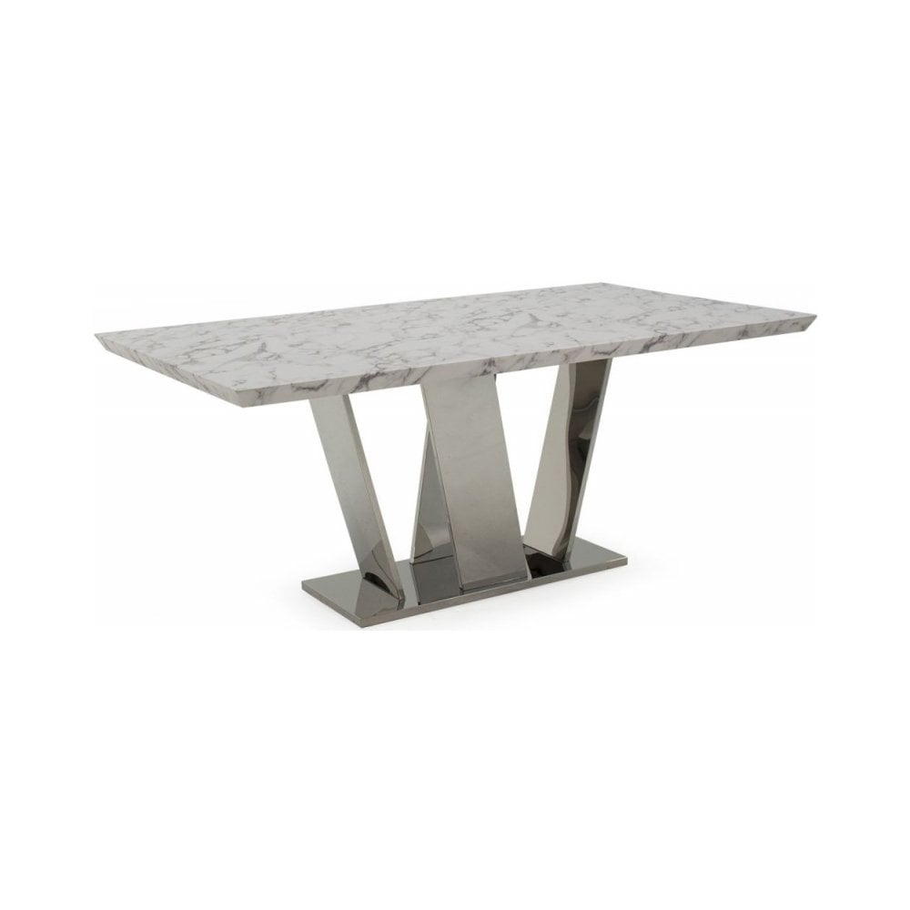 Olena Off White Marble Dining Table 160cm Rectangualr Fixed Top