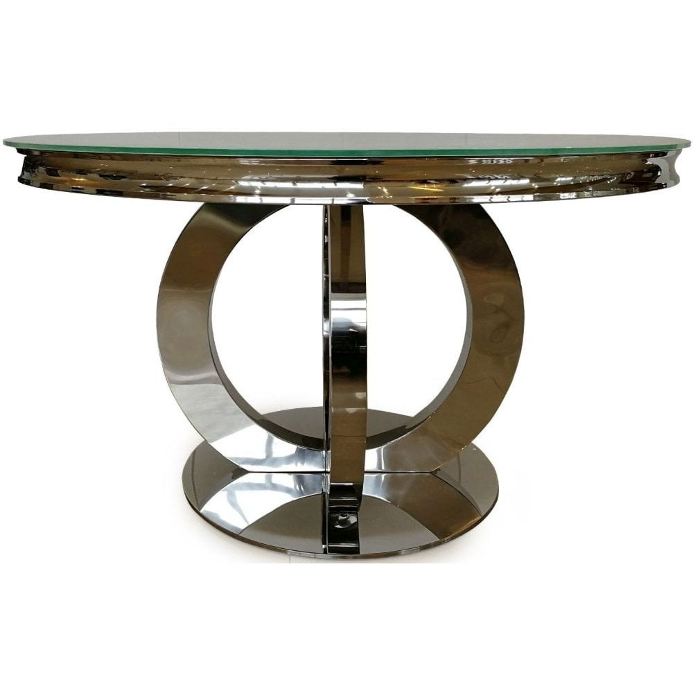 Vida Living Orion White Glass Top Round Fixed Top Dining Table