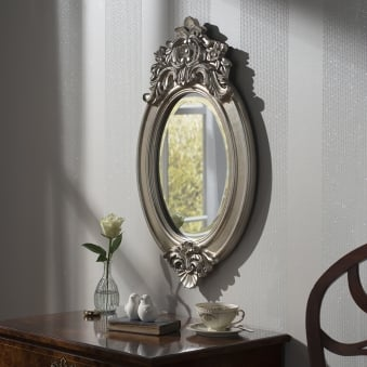 Windsor Crested Silver Mirror